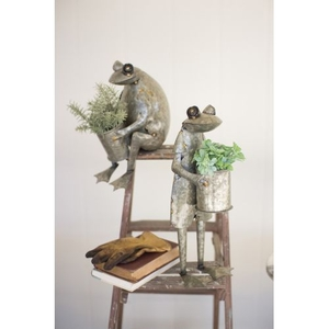 Galvanized Frog Planters, Set of 2