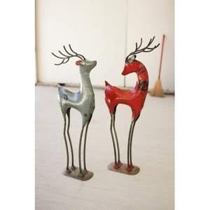 Recycled Red Iron Deer, Set of 2