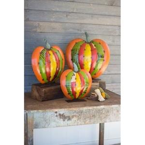 Recycled Metal Pumpkins, Set of 3