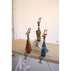 Recycled Metal Deer Shelf Sitters, Set of 3