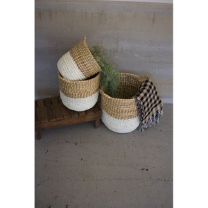 White Dipped Seagrass Hampers With Handles, Set of 3
