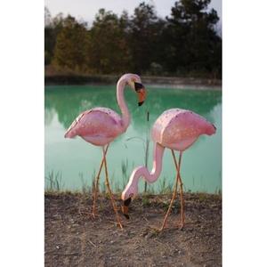 Painted Metal Pink Flamingo - Head Up