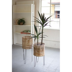 Round Seagrass Planters With Iron Bases, Set of 2