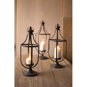 Metal Lanterns With Glass Insert, Set of 3