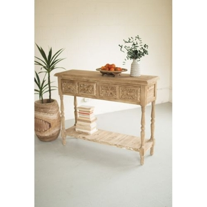 Wood Console W Four Drawers and Lower Shelf - 52X15X39.75T