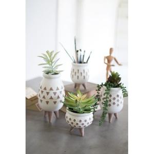 Ceramic White Vases With Brown Detail, Set of 4
