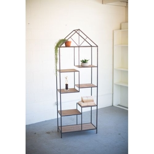 Metal and Wood House Shape Shelving Unit