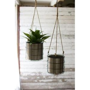Hanging Metal Planters, Set of 2