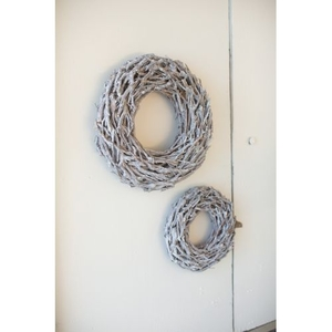 "Grey Wash Willow Root Christmas Wreath - 25"" D"