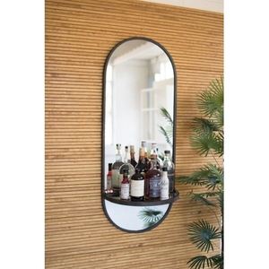 Tall Oval Wall Mirror With Folding Metal Shelf