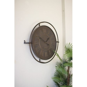 Embossed Metal Wall Clock Antique Rustic Finish