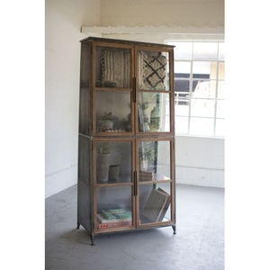 Metal and Wood Slanted Display Cabinet W/ Glass Doors