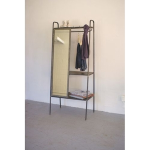 Slanted Metal Storage With Mirror