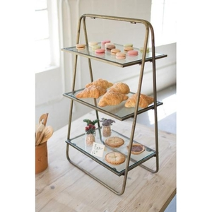 Three Tiered Metal Display With Glass Shelves