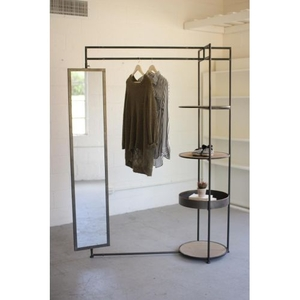 Metal Display With Tall Rectangle Mirror