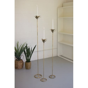 Antique Brass Palm Taper Candle Towers #1, Set of 3