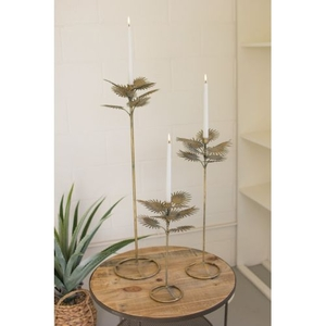 Antique Brass Palm Taper Candle Towers #2, Set of 3