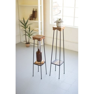 Recycled Wood And Iron Pedestals, Set of 2