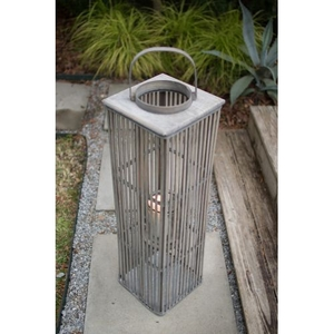 Large Square Bamboo Lantern With Glass - Grey
