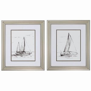 Coastal Boat Sketch Set of 2 Framed Beach Wall Art