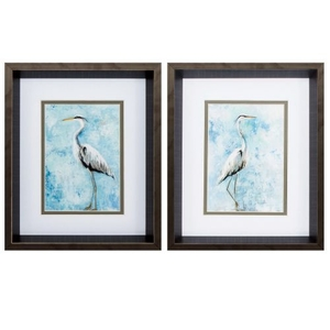 Hazy Morning Heron Set of 2 Framed Beach Wall Art