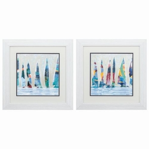 Dozen Colorful Boats Set of 2 Framed Beach Wall Art