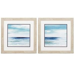 Blue Silver Shore Set of 2 Framed Beach Wall Art