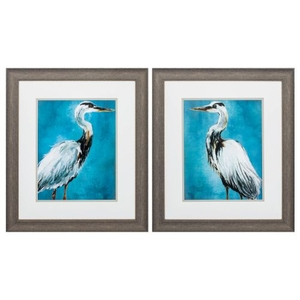 Great Blue Heron Set of 2 Framed Beach Wall Art