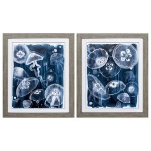 Moon Jellies Set of 2 Framed Beach Wall Art