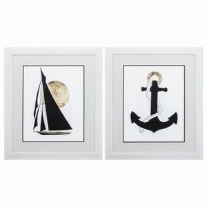 Sail Anchor Set of 2 Framed Beach Wall Art