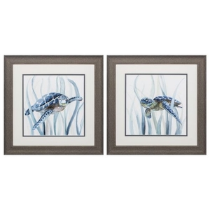 Turtle In Grass Set of 2 Framed Beach Wall Art