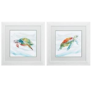 Turtle Tropics Set of 2 Framed Beach Wall Art