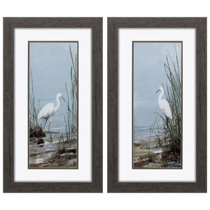 Island Egret Set of 2 Framed Beach Wall Art