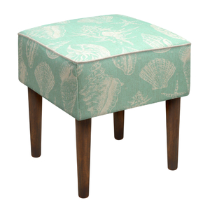 Seashells Linen-Upholstered Stool