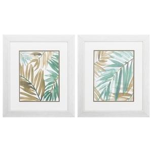 Teal Palm Design Set of 2 Framed Beach Wall Art