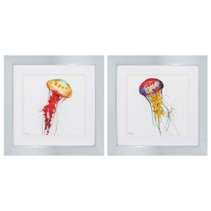 Deep Sea Jellies Set of 2 Framed Beach Wall Art