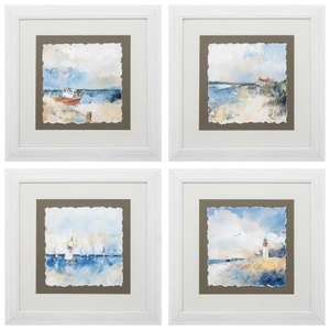 Boat House Sail Ligh Set of 4 Framed Beach Wall Art