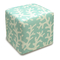 Coral Linen-Upholstered Cube Ottoman