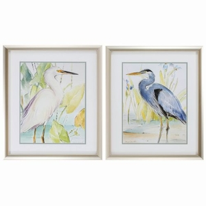 Heron Egret Set of 2 Framed Beach Wall Art