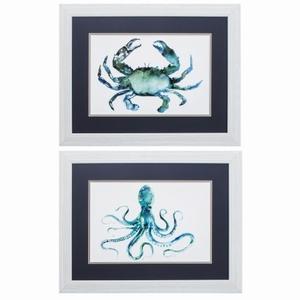 Crab Octopus Set of 2 Framed Beach Wall Art