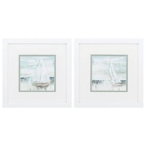 Soft Sail Set of 2 Framed Beach Wall Art