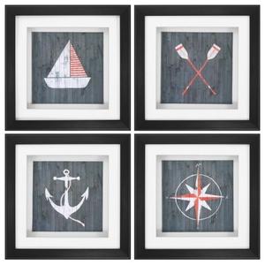 Nautical Plank Set of 4 Framed Beach Wall Art