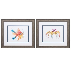 Fish Crab Set of 2 Framed Beach Wall Art