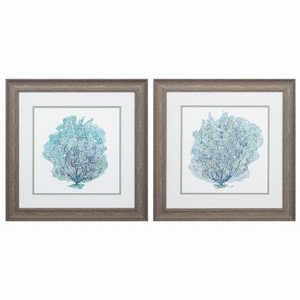 Teal Coral On White Set of 2 Framed Beach Wall Art