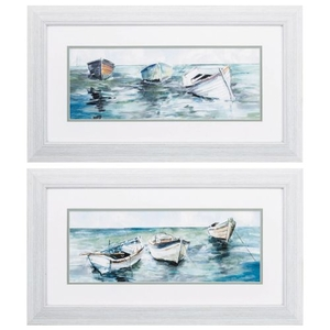 Caught At Low Tide Set of 2 Framed Beach Wall Art