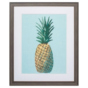 Pineapple On Blue Framed Beach Wall Art