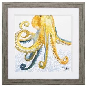 Sea Creature Octopus Framed Beach Wall Art