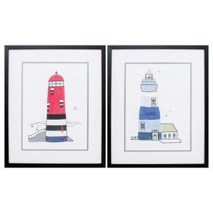 Lighthouse Set of 2 Framed Beach Wall Art