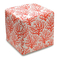 Coral Branches Linen-Upholstered Ottoman