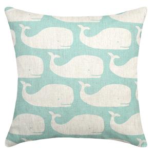 Whale Aqua Linen Pillow